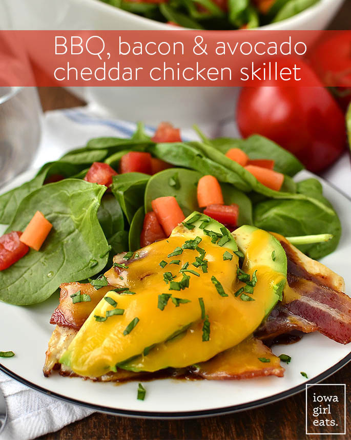 15 Minute BBQ, Bacon and Avocado Cheddar Chicken Skillet takes just 15 minutes to cook, and calls for just 5 ingredients. This gluten-free dinner recipe is a winner! | iowagirleats.com