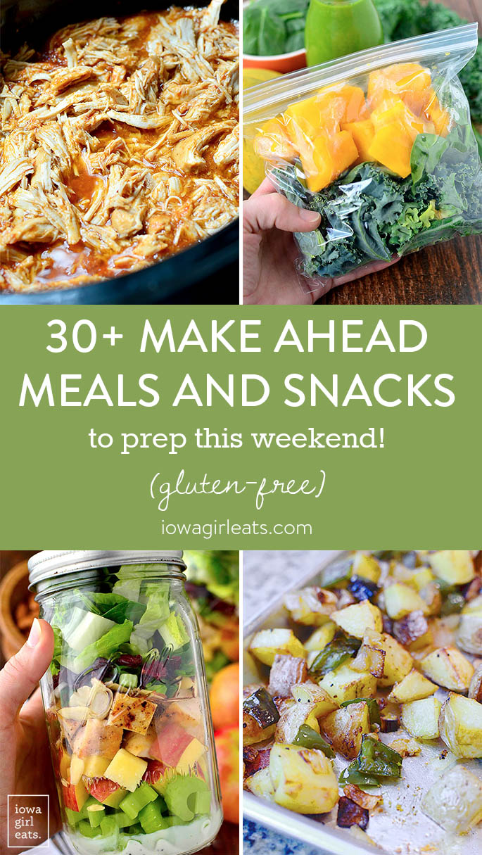 With a little work on the weekends, you can stock your fridge with healthy, ready to eat items to enjoy all week. Here are 30+ gluten-free, make-ahead meals and snacks to prep this weekend! | iowagirleats.com