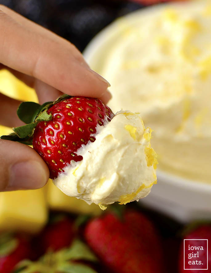 2-Ingredient Lemon Whip Fruit Dip is light and mousse-like in texture, and made with just 2 ingredients. This gluten-free, dairy-free dip is a must-try! | iowagirleats.com
