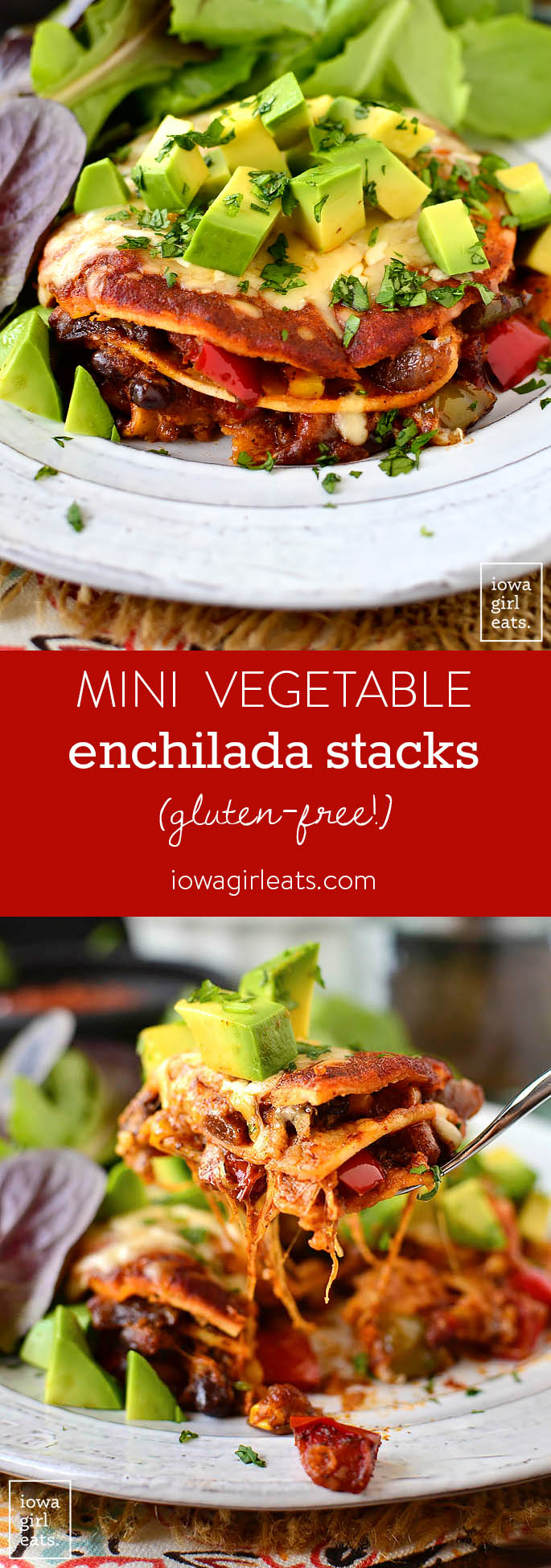 Mini Vegetable Enchilada Stacks are perfectly proportioned and full of fresh veggies, cheese, and enchilada sauce. A fun and delicious gluten-free dinner recipe! | iowagirleats.com