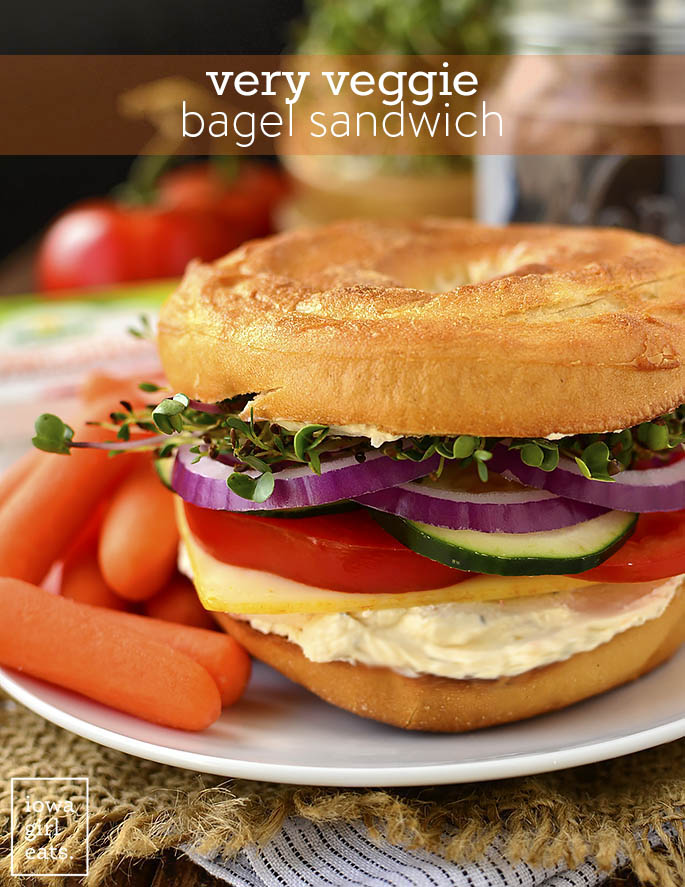 Very Veggie Bagel Sandwich - Iowa Girl Eats