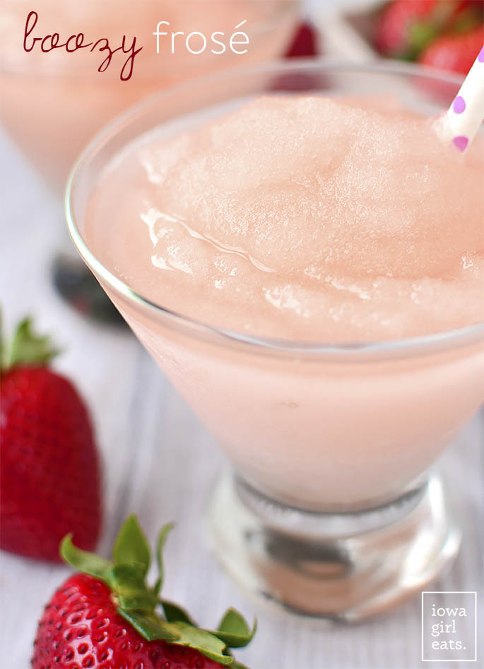 Boozy Frosé is a wine-based summery slushie that's cold and refreshing - and for adults only! This easy cocktail recipe will be a hit at happy hour. | iowagirleats.com