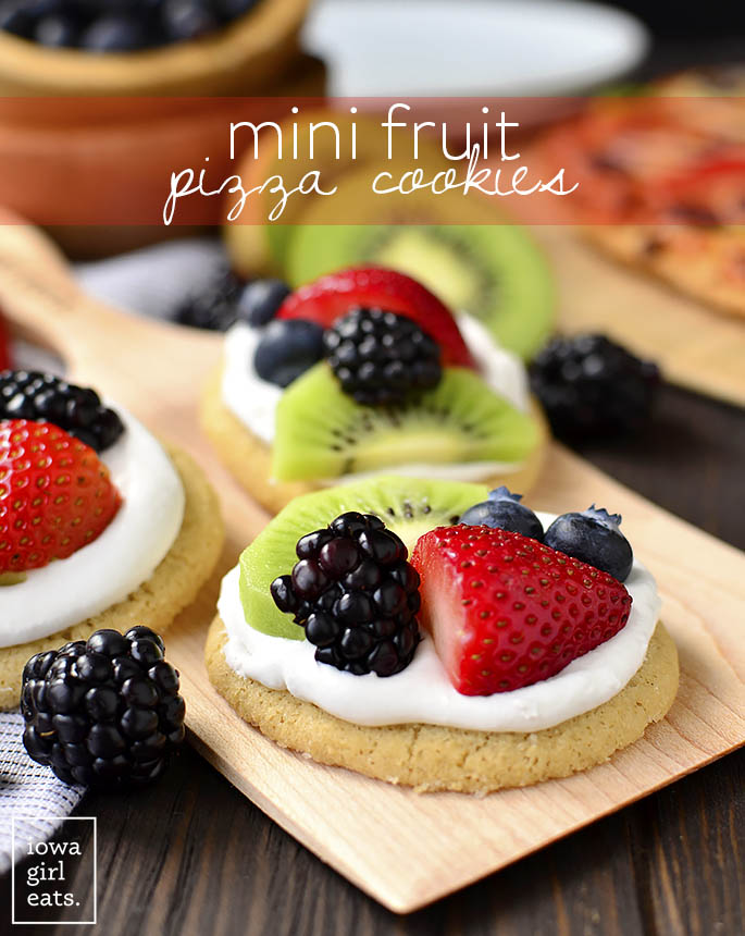 Plate of Mini Fruit Pizzas