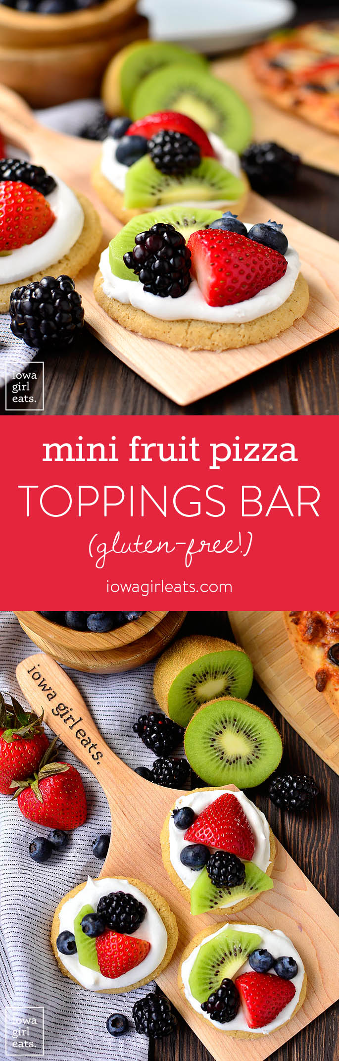 Customize pizza night with Mini Fruit Pizzas plus a DIY pizza toppings bar! This gluten-free dinner and dessert combo is fun, easy, and delicious.   iowagirleats.com