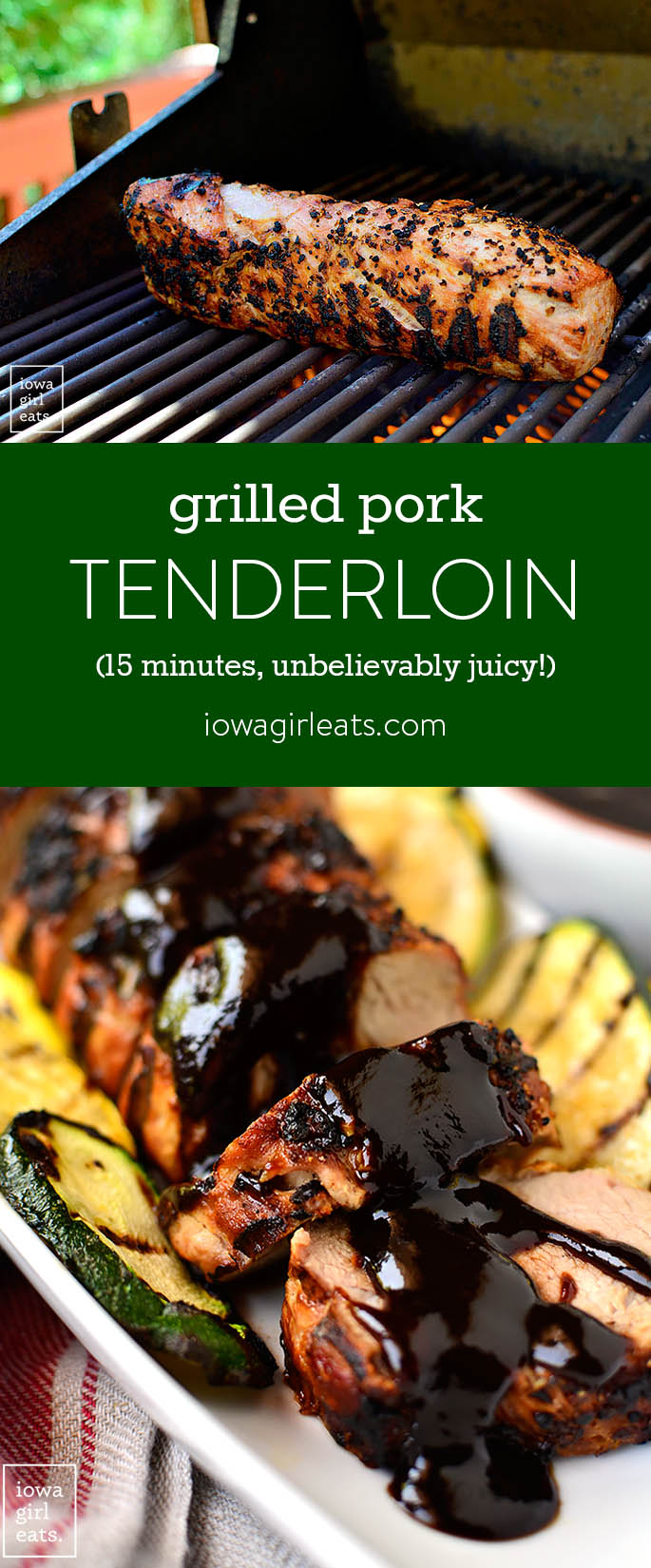 I'm sharing my method for the most unbelievably juicy grilled pork tenderloin, which cooks in under 15 minutes. A filling and healthy summer dinner! | iowagirleats.com