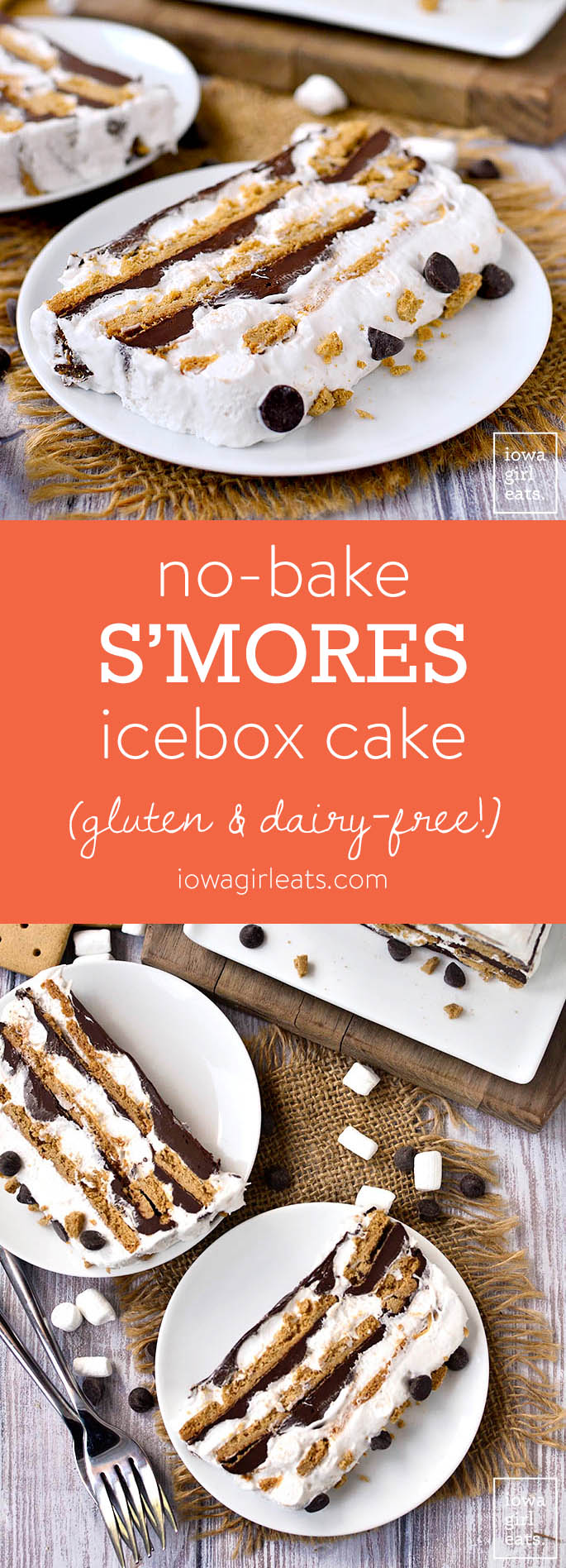 No-Bake S'mores Icebox Cake is a gluten-free and dairy-free dessert recipe that will be a hit with kids and adults alike. Sticky and sweet, just like the real thing! | iowagirleats.com