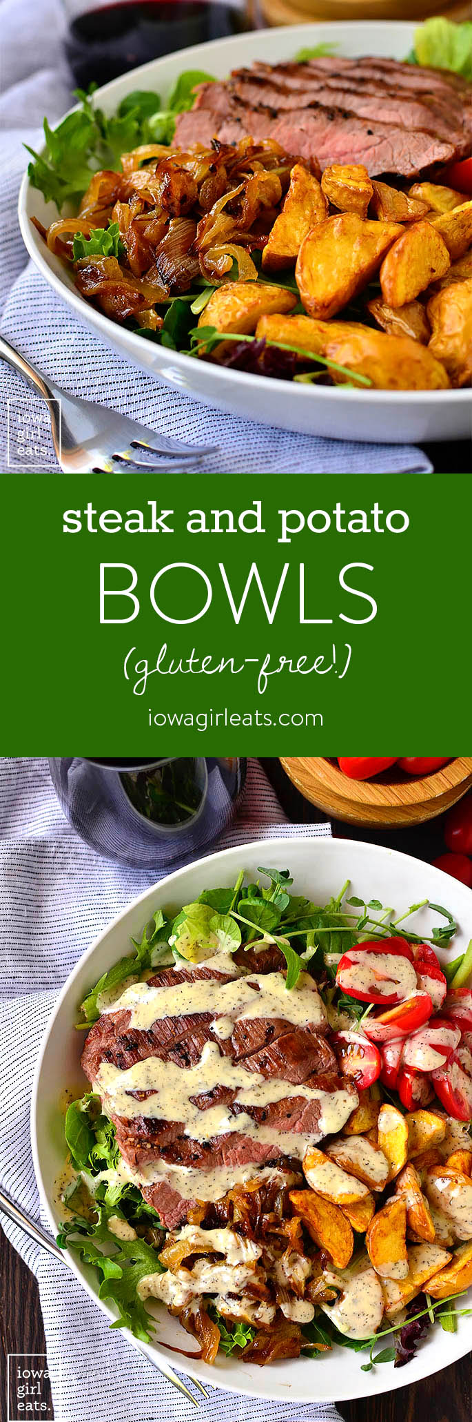Steak and Potato Bowls are a healthy and hearty grilled gluten-free dinner recipe. Plus I'm sharing my favorite method for grilling juicy, tender steaks! | iowagirleats.com