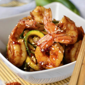 5-Ingredient Sweet Chili Sesame Shrimp and Zoodles