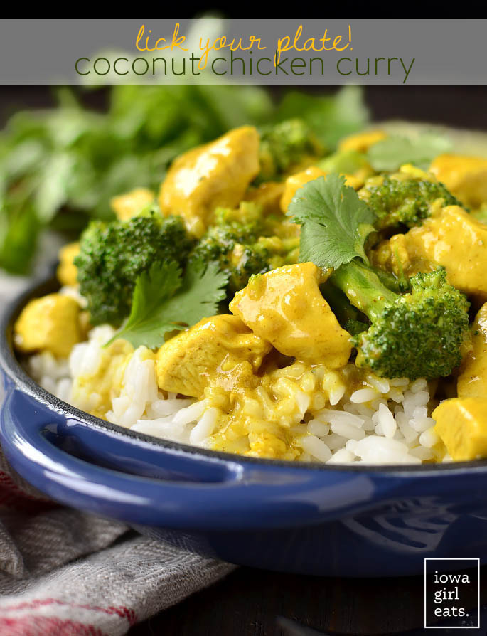 Lick Your Plate Coconut Chicken Curry is incredibly delicious, and simple too! This 1-skillet, gluten-free dinner recipe will be on the table in under 30 minutes. | iowagirleats.com
