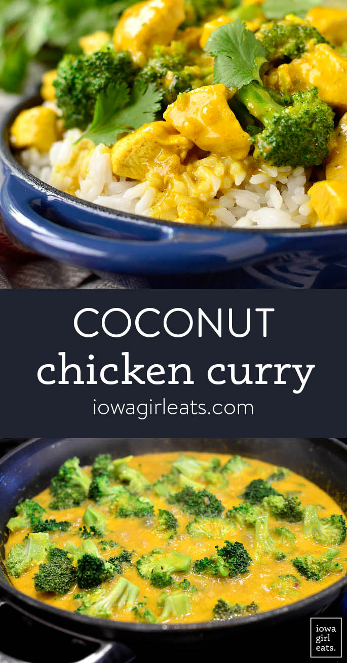 Photo collage of coconut chicken curry