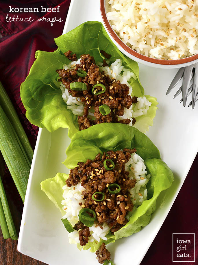 Overhead photo of Korean Beef Lettuce Wraps