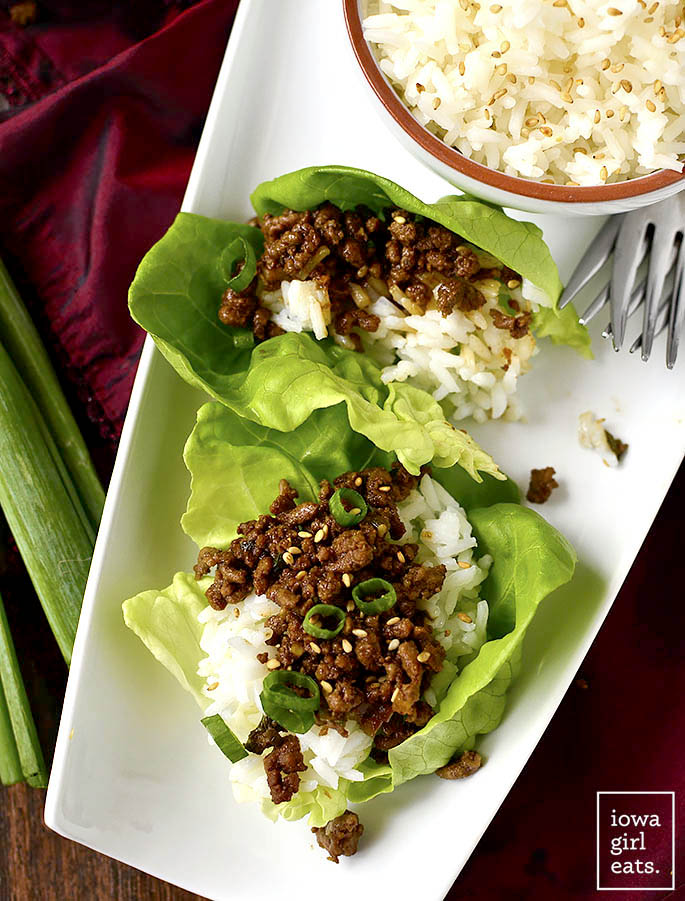 Korean Beef Lettuce Wraps on a platter with rice