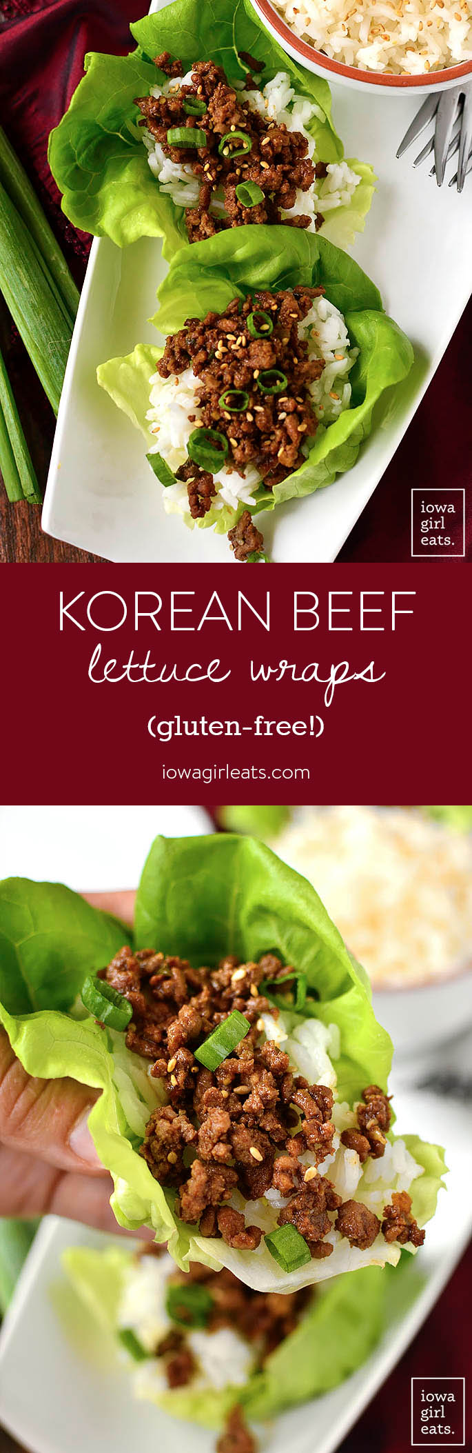 Photo collage of Korean Beef Lettuce Wraps