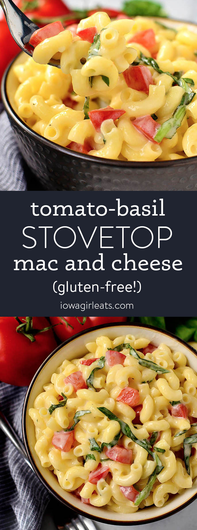 Photo collage of stovetop tomato basil mac and cheese