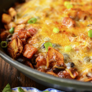 Black Bean and Sweet Potato Chicken Enchilada Skillet