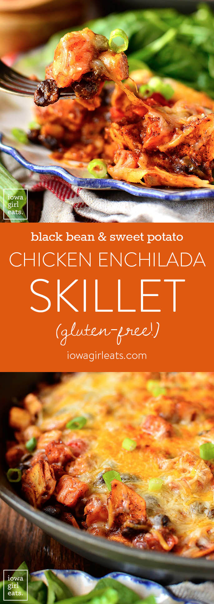 "Black Bean and Sweet Potato Chicken Enchilada Skillet is a healthy, 1 skillet, gluten-free dinner recipe that my entire family (including my 4 year old!) described as ""really, REALLY good!"" 