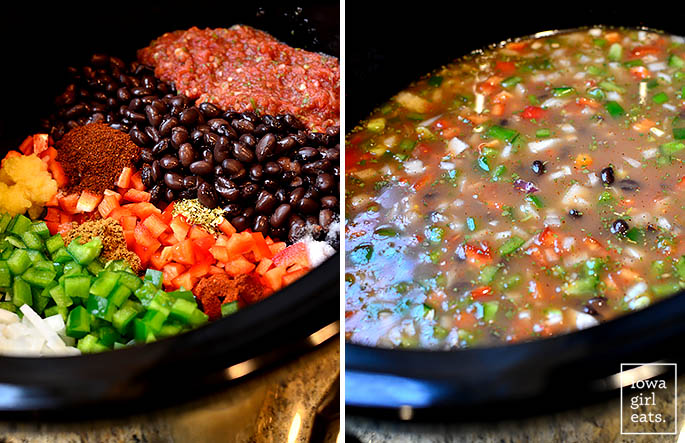 Crock Pot Black Bean and Rice Soup is a filling, healthy, and heartygluten-free crock pot recipe that's easy on the wallet, and waistline! | iowagirleats.com