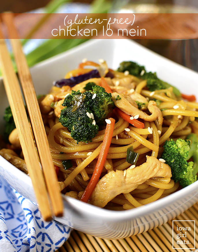 Gluten-Free Chicken Lo Mein - Iowa Girl Eats