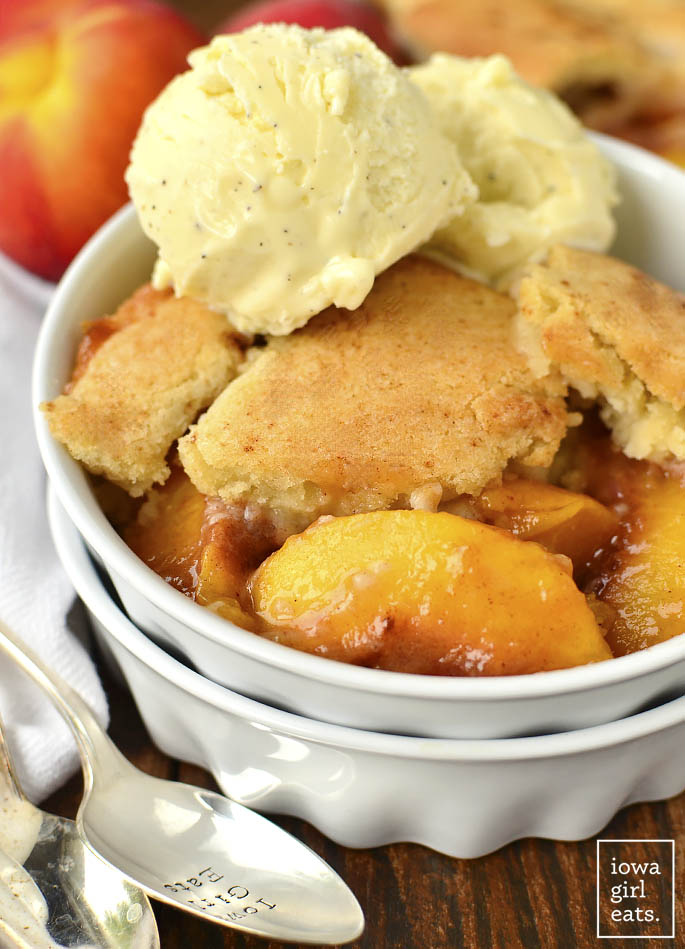 Sugar Cookie Peach Cobbler for Two is a cozy gluten-free dessert recipe that makes just enough for you and a friend. Made in just one bowl, it's a cinch to whip up! | buzzpur.info