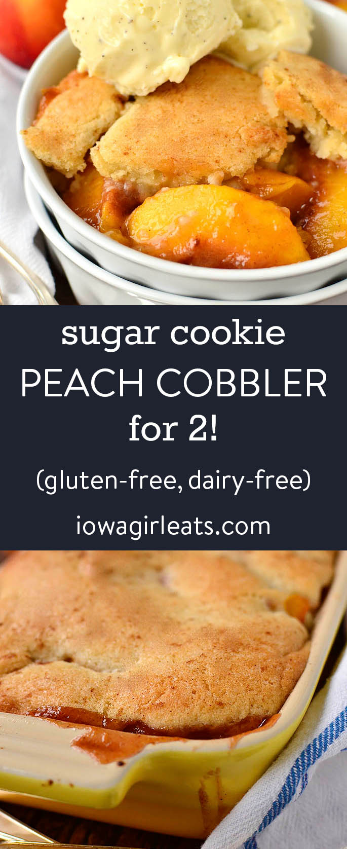 Photo collage of sugar cooking peach cobbler for 2