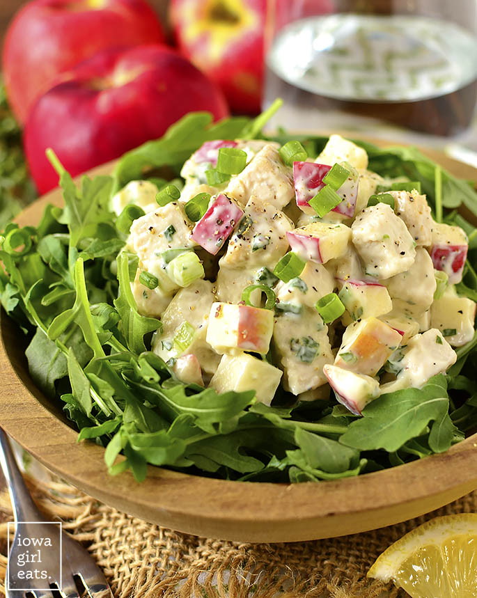 Apple Tarragon Chicken Salad is an easy lunch recipe that's full of fresh flavors. Scoop onto a bed of lettuce, between two bread slices, or make into a mason jar meal! | iowagirleats.com