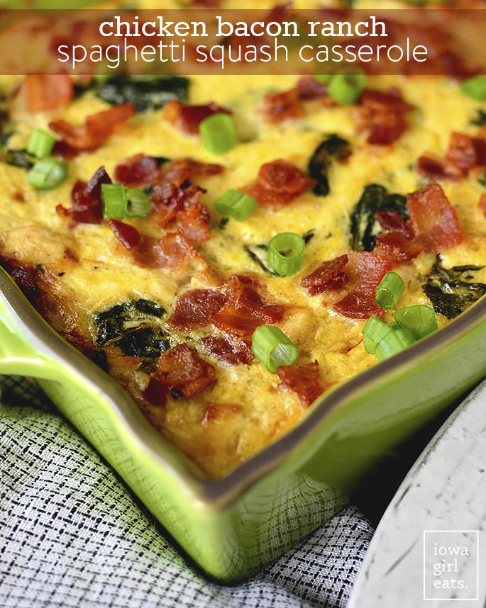 Chicken Bacon Ranch Spaghetti Squash Casserole is a flavorful fall casserole recipe. Even my squash-averse family loves this scrumptious, gluten-free dish! | iowagirleats.com