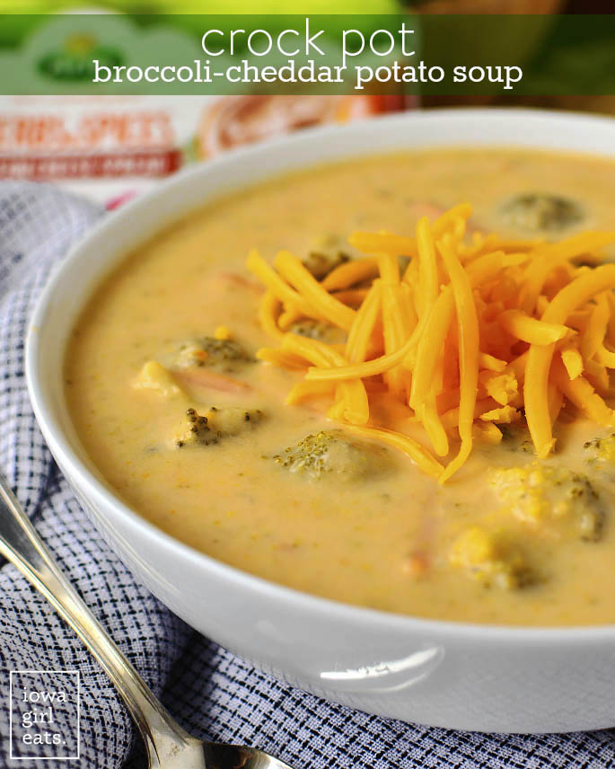 Crock Pot Broccoli Cheddar Potato Soup Iowa Girl Eats
