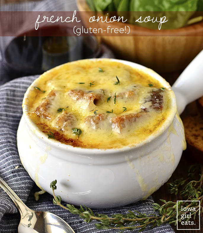 French Onion Soup is a classic that's a cinch to make gluten-free at home. All you need is a little bit of time and some fridge and pantry staples. | iowagirleats.com