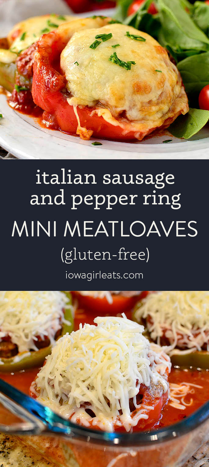 Photo collage of mini sausage and pepper ring meatloaves