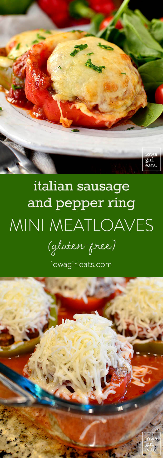 Italian Sausage and Pepper Ring Mini Meatloaves have all the taste of sausage and peppers, in a fun mini meatloaf presentation. My family loves this easy, gluten-free dinner recipe! | iowagirleats.com