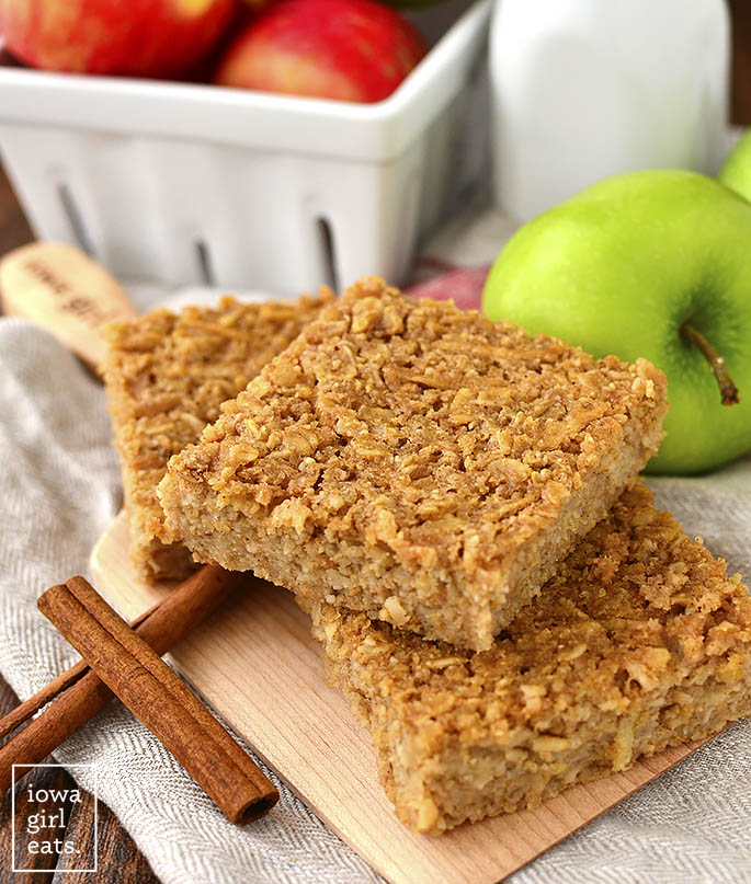 Tray of apple oatmeal bars