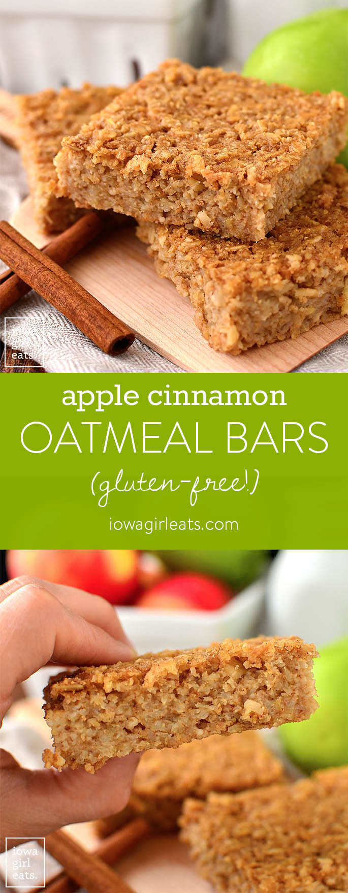 Photo collage of gluten free apple cinnamon oatmeal bars