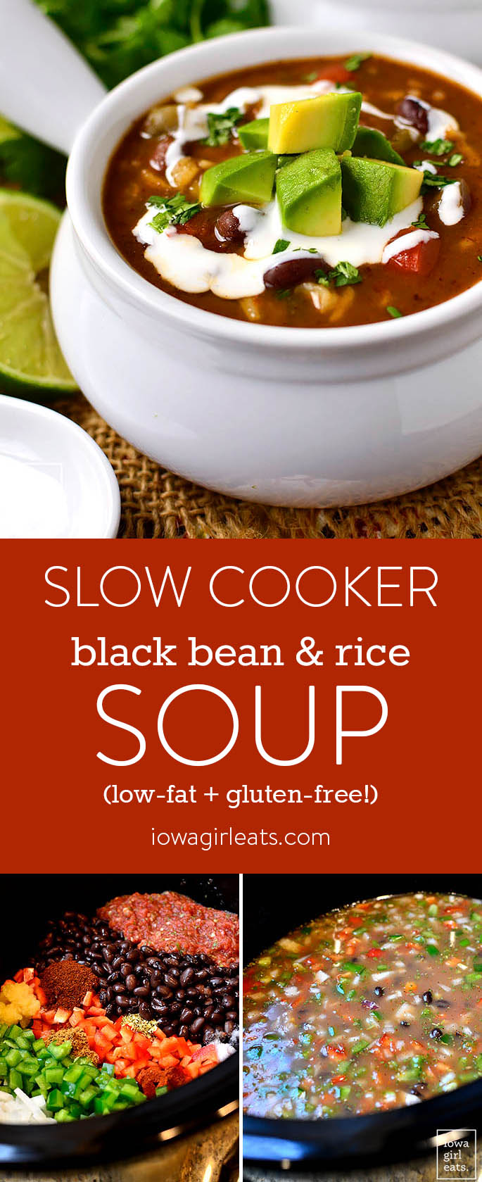 Slow Cooker Black Bean and Rice Soup is a filling, healthy, and hearty gluten-free slow cooker recipe that's easy on the wallet, and waistline! | iowagirleats.com