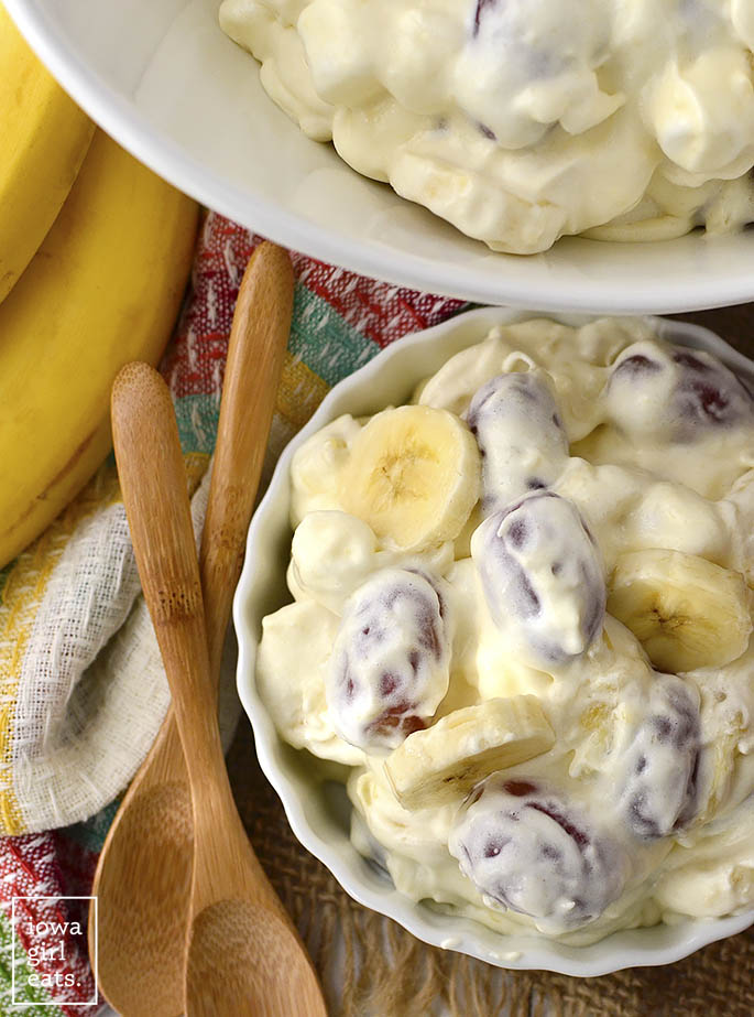 Fruit and Marshmallow Holiday Salad is a staple on my family's holiday dinner table. Easy to assemble and loved by all. Enjoy for dessert or as special holiday side dish!   iowagirleats.com