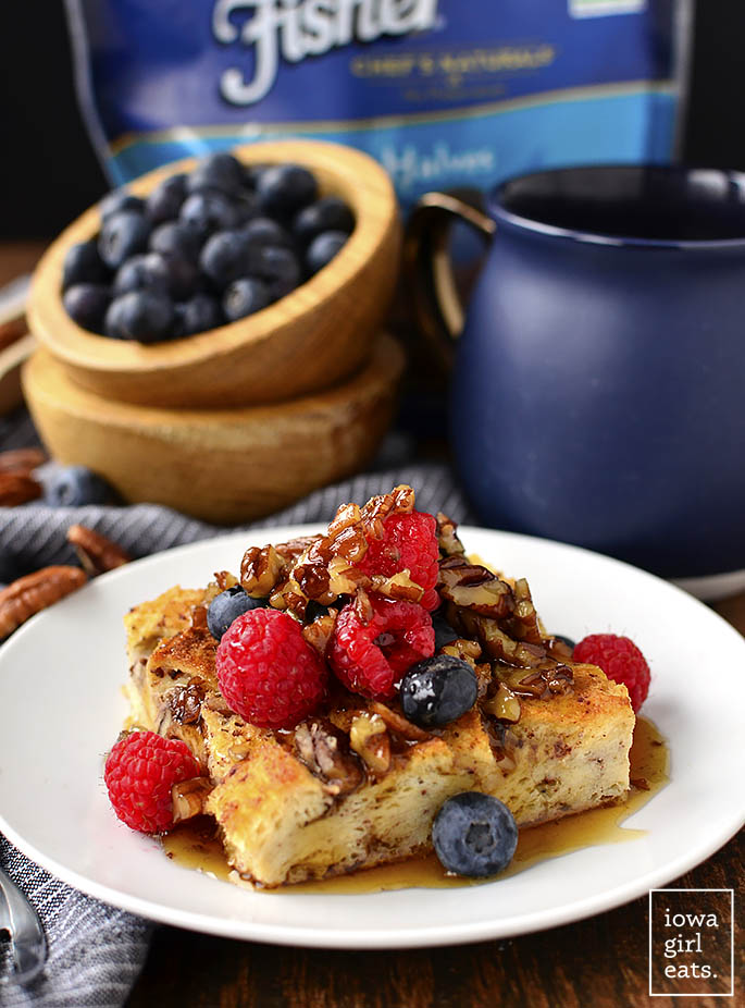 Gluten-Free French Toast Casserole with Butter-Pecan Maple Syrup is make ahead and perfect for feeding a crowd. This gluten-free breakfast or brunch recipe will WOW! | iowagirleats.com