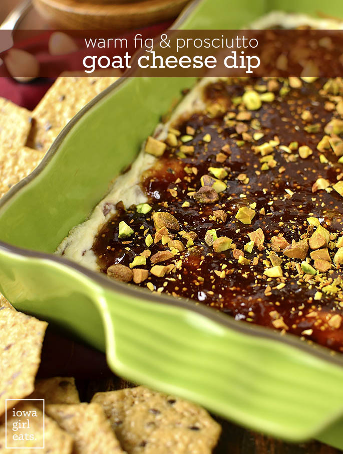 5-Ingredient Warm Fig and Prosciutto Goat Cheese Dip will be a hit at your next party! Layers of goat cheese and prosciutto, fig jam, and pistachios scooped up with gluten-free crackers will leave a lasting impression. | iowagirleats.com
