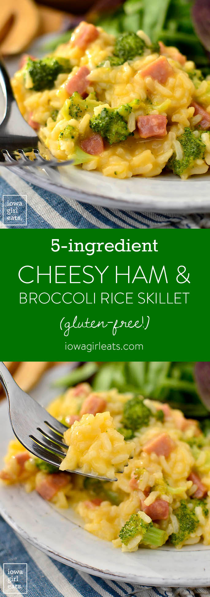 5-Ingredient Cheesy Ham and Broccoli Rice Skillet is a 1 pan, 20 minute, gluten-free dinner recipe that will leave you licking your plate clean! | iowagirleats.com