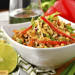 Thai Crunch Salad with Thai Peanut Dressing (Video)