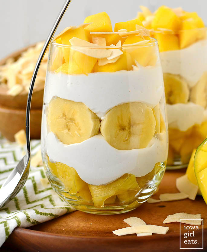 pina colada parfaits with a spoon