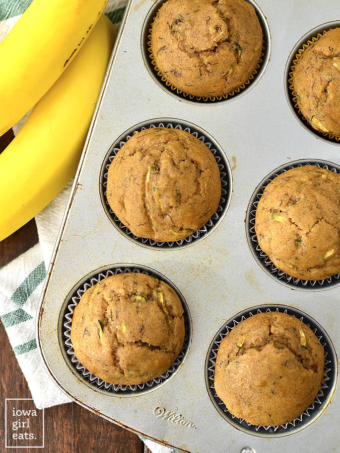 Healthier Zucchini Banana Bread Muffins are soft, squishy, and just sweet enough. Pair with coffee or tea for a tasty, gluten-free snack or breakfast idea!  | iowagirleats.com