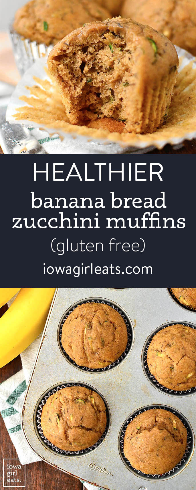 Photo collage of of Healthier banana bread zucchini muffins