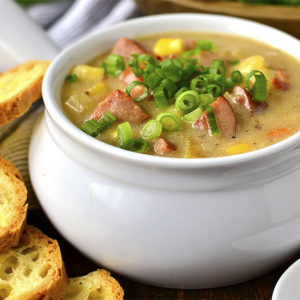 Sweet Corn, Kielbasa and Potato Soup