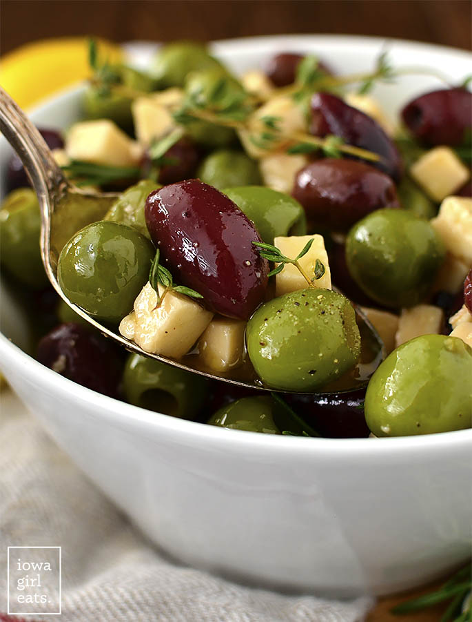 Spoonful of olives and cheese.