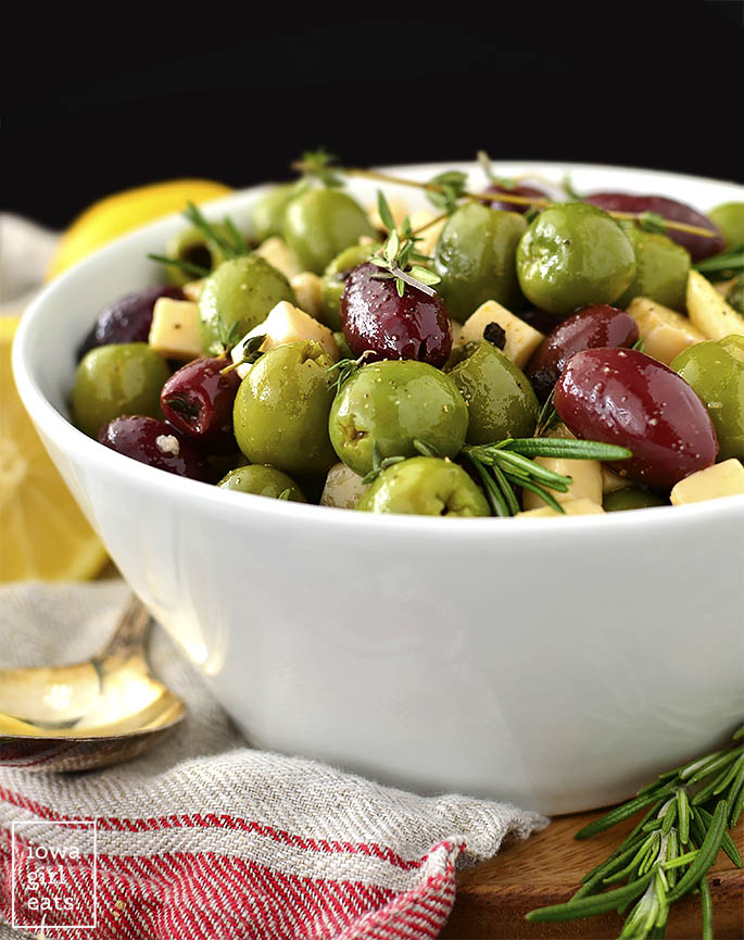 Bah of marinated olives and cheese.