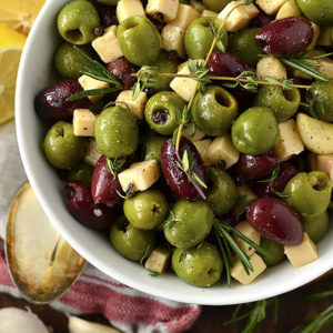 Herb and Garlic Marinated Olives