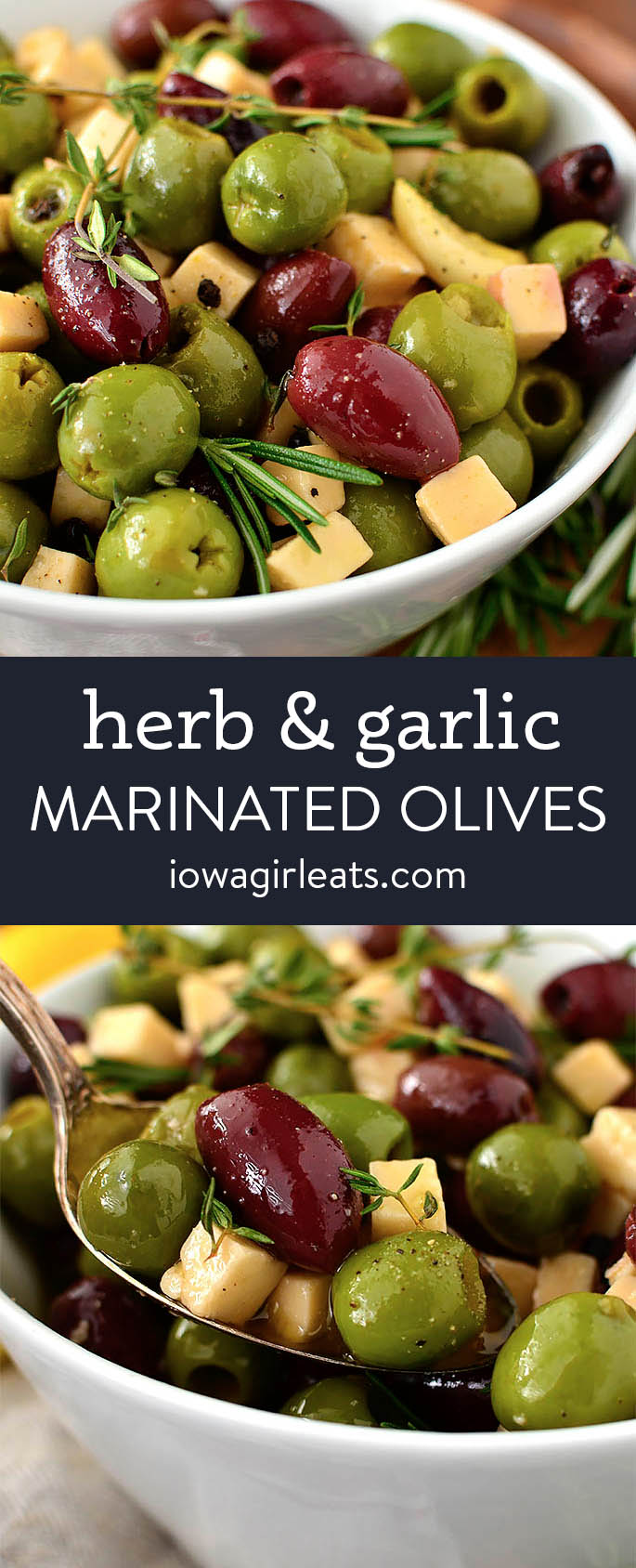 Photo collage of herb and garlic marinated olives