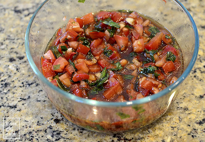 Bowl of homemade bruschetta mixture.