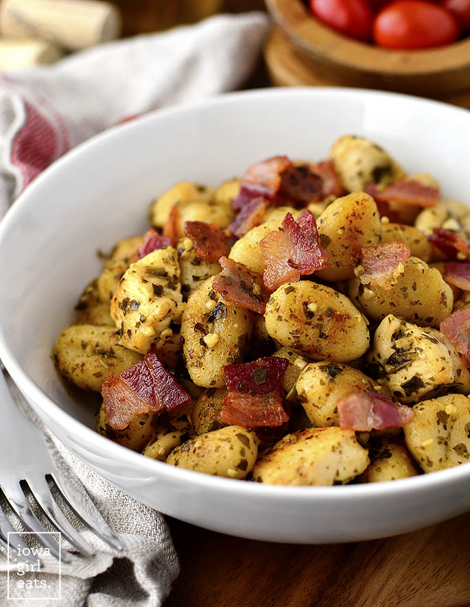 Bowl of Chicken, Bacon, Pesto Crispy Gnocchi Skillet