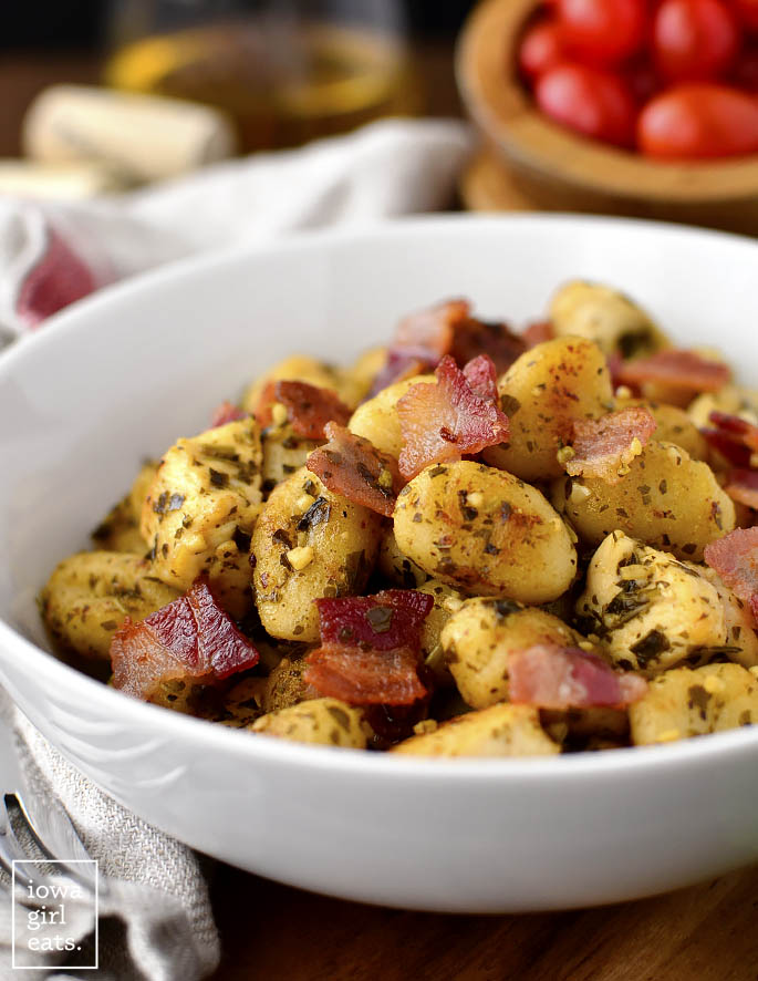 Bowl of Crispy Gnocchi Skillet