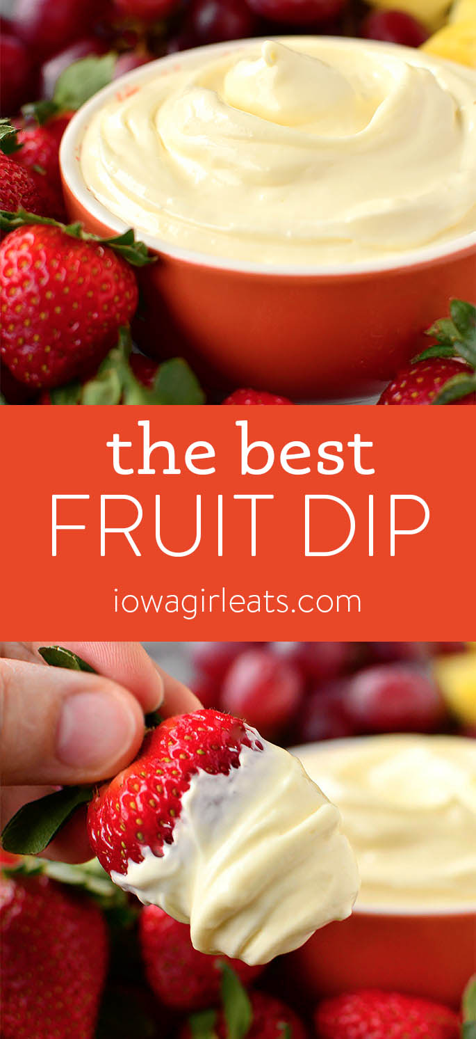 Photo collage of fruit dip